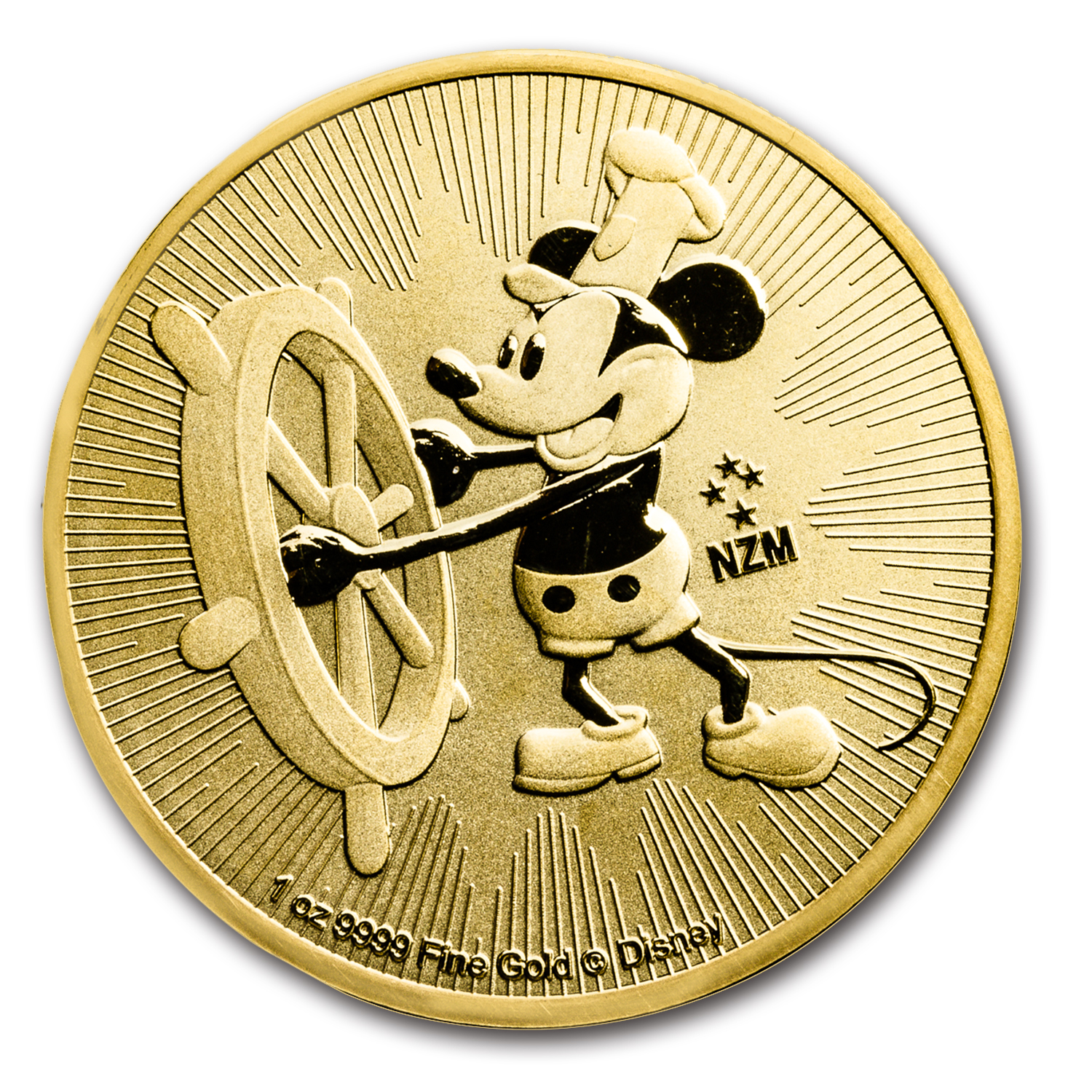2017 Niue 1 oz Gold $250 Disney Steamboat Willie BU